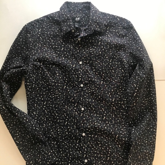 H&M Easy Iron Patterned Slim Fit Button Down Shirt
